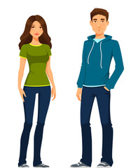 young man and woman in casual clothes