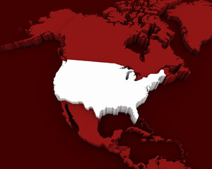 usa map 3D illustration