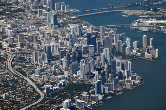 Miami aerial view from the airplane
