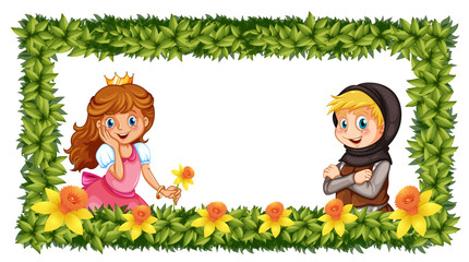 Frame template with princess and knight