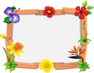 Frame template with many flowers