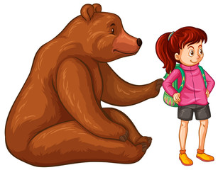 Female hiker and grizzly bear