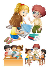 Kids working and studying together