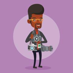 Photographer taking photo vector illustration.