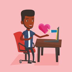 Young man dating online using laptop.