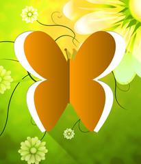 Butterfly flowers Cutout Shows Nature Butterflies 3d Illustratio