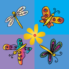 Hand drawn butterflies and dragonfly.