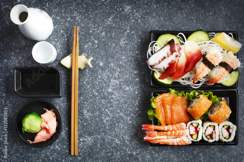 sushi set different sashimi sushi and rolls stockfotos und lizenzfreie bilder auf fotolia. Black Bedroom Furniture Sets. Home Design Ideas