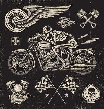 Scratchboard Motorcycle Elements
