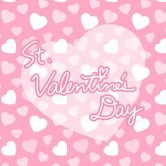 ピンクのハート柄背景とSt.Valentine's Dayロゴ バレンタイン 正方形