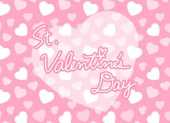 ピンクのハート柄背景とSt.Valentine's Dayロゴ バレンタイン 横長