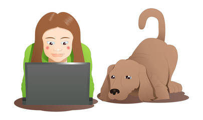 a brown dog and a woman learning laptop