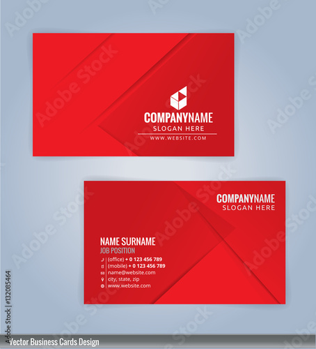 Red And White Modern Business Card Template Vertical Illustration