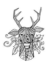 Deer head stylized in decorative illustration.