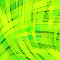 Vector illustration of neon green abstract background with blurred light curved lines. Vector geometric illustration.
