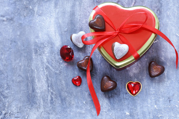 Romantic symbols of hearts and chocolate candy Valentine's Day