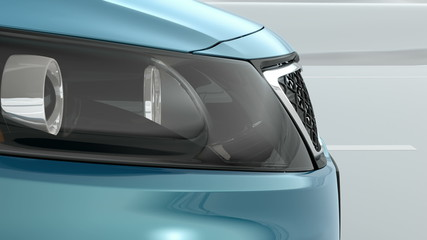 abstract Luxury Car closeup view 3d illustration