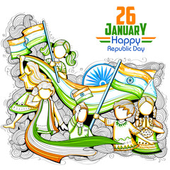 Indian kids waving tricolor flag celebrating Republic Day of India