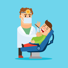 Dentist cartoon character. Stomatologist checking the teeth of his patient. Vector illustration