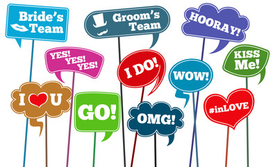 Funny weddings phrases, brides team vector photo props
