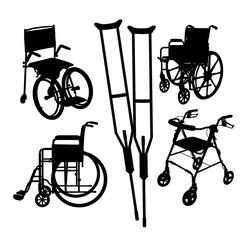 Wheelchair Black Silhouette, art vector illustration