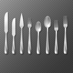 Vector realistic cutlery set, silver or steel fork, spoon, knife