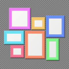 Color rectangle portrait wall frames vector set