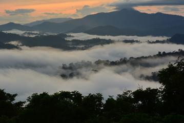 Sunrise scenery over Danum Valley Conservation Area in Lahad Datu, Sabah Borneo, Malaysia.