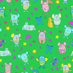 Seamless pattern with funny cartoon mouses on a green background
