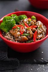 soba noodle with teriyaki chicken and broccoli