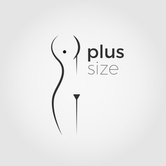 Plus size woman vector logo concept