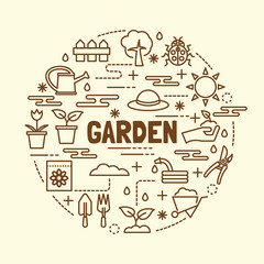 garden minimal thin line icons set