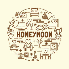 honeymoon minimal thin line icons set
