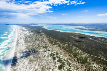 Aerial view of the sixteen mile beach and the Langebaan Lagoon