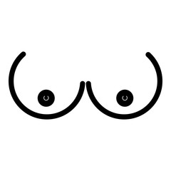 Boob icon - glyph style - black outline style
