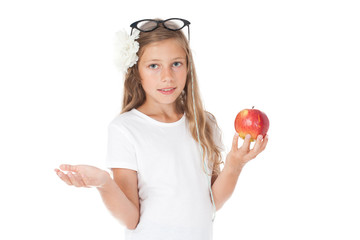 girl - a student holding an apple