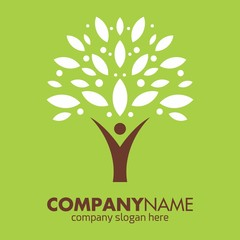 growing tree logo icon vector template