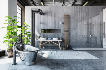 Stark grey interior of a converted industrial loft