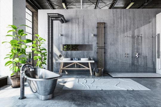 Stark grey interior of a converted industrial loft