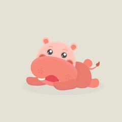 Cute funny hippo.