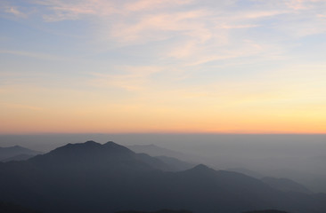 Landscape of sunrise over mountains