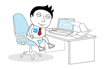 Young adult man working at office vector concept illustration.  Guy sitting on chair at table in front of computer laptop monitor.