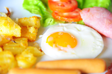 Close up of Breakfast with fried egg, sausage, ham and grill pat