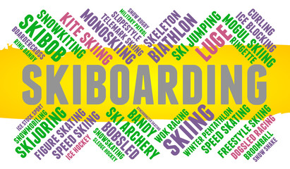 Skiboarding. Word cloud, colored font, white background. Olympics.