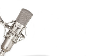 Condenser studio microphone on white background