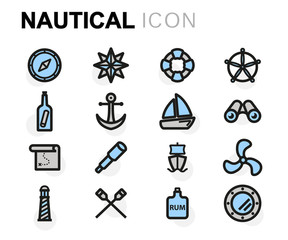 Vector flat nautical icons set