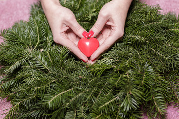 Female hands with heart on fir branches. Valentine Day.