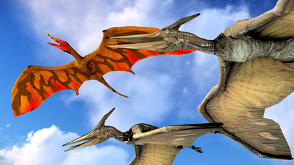 Flying pterodactyl against the beautiful cloudscape 3d illustration