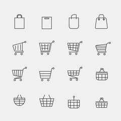 Vector store bags signs or lined shopping basket modern web icons