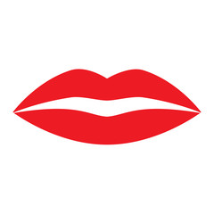Flat icon red lips. Vector illustration.